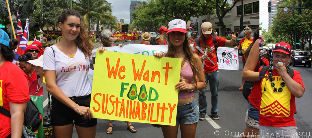 We Want Food Sustainability - Aloha Aina Unity 2015 Waikiki Organic Hawaii