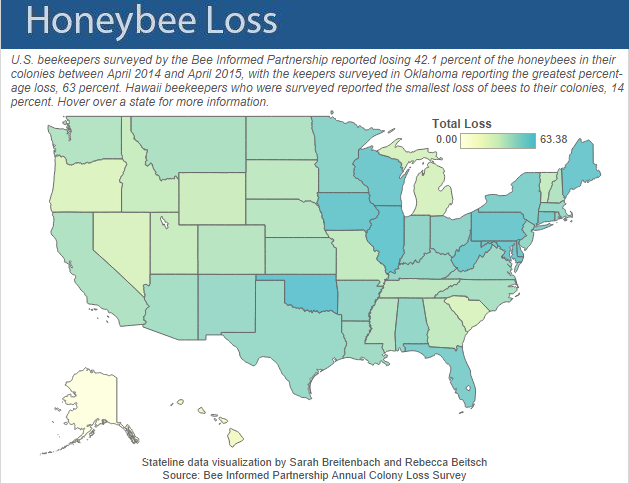 Map showing Colony Collapse Disorder of honeybees by state